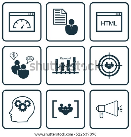 set of 9 seo icons can be used