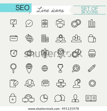 Set of SEO linear style icons and modern thin line symbols. Icons for digital network, analytics, social media and market concept for web user interface, banners, printing materials etc.