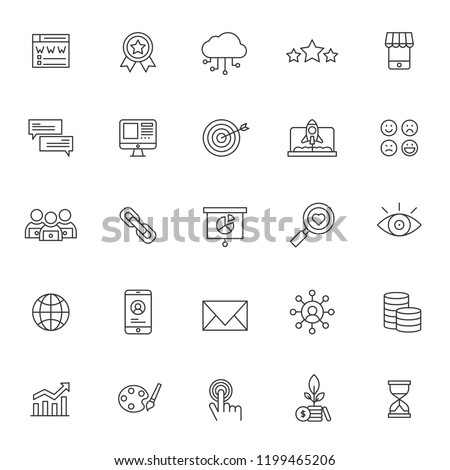 set of SEO technology system icons, simple line style and editable stroke, vector eps 10
