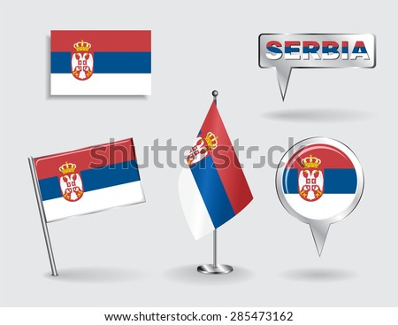 set of serbian pin  icon and