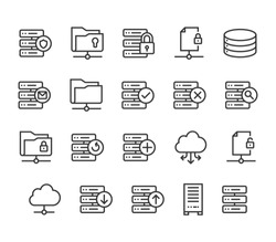 Set of Server Icons Cloud Database Editable Stroke. 48x48 Pixel Perfect.
