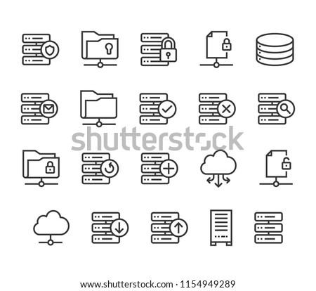 Set of Server Icons Cloud Database Editable Stroke. 48x48 Pixel Perfect.
