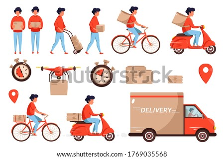 Set of service delivery. Delivery service concept by truck, drone, scooter and bicycle courier. Lot of parcels, deadline timer. Vector illustration in flat style. Foto stock ©