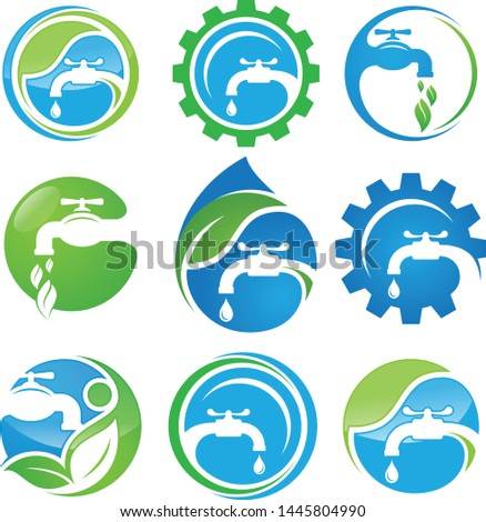 Set of service plumbing vector icon symbol for element design on the white background. Collection of service plumbing symbol design template in flat style. Vector illustration EPS.8 EPS.10