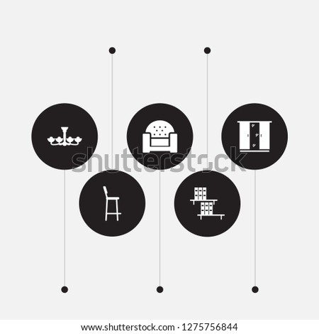 Set of 5 set icons set. Collection of armchair, chandelier, closet elements.