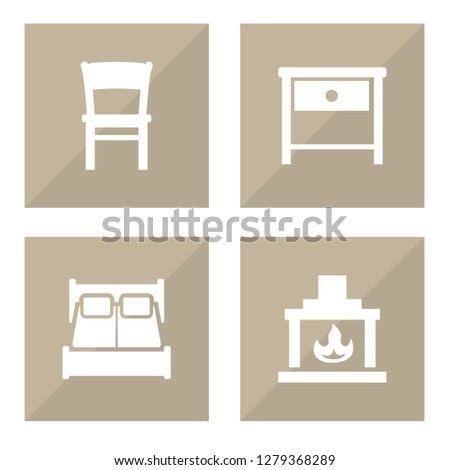 Set of 4 set icons set. Collection of chair, nightstand, fireplace elements.