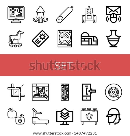 Set of set icons such as Home, Trojan horse, Squid, Coupon, Smoked sausage, Pachinko, Robot, Subway, Email, Greek vase, Crop, Apple, Ebook, Fitness, Donut, Layers, Login