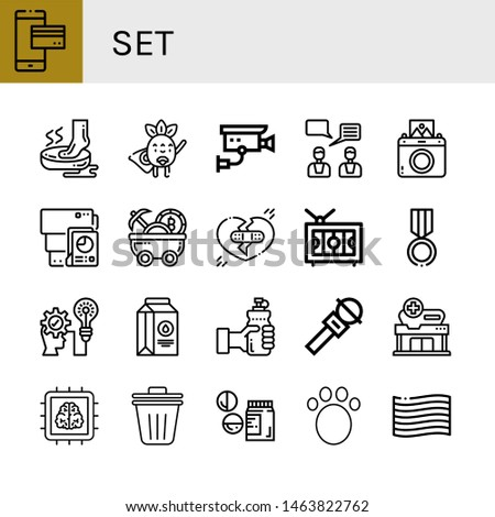 Set of set icons such as Mobile payment, Foot, Superhero, Cctv, Feedback, Instant camera, Document, Mine cart, Broken heart, Television, Medal, Strategic, Milk, Water, Microphone , set
