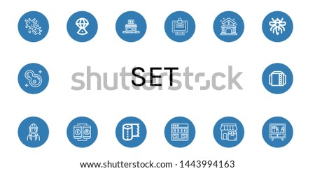 Set of set icons such as Paintball, Space capsule, Restaurant, Password, Bank, Mosquito, Architect, Online shopping, Paper towel, Tutorial, Shop, Buffet, Bacteria, Storage tank , set