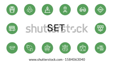 Set of set icons. Such as Shirt, Bikini, Candle, Engineer, Sunglasses, Condom, Towel, Folders, Cactus, Box, Eye test, Helicopter, Bus, Data mining , set icons