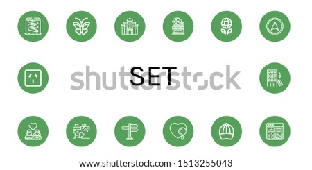 Set of set icons such as Slider, Butterfly, Casino, Movie theater, Ecology, Navigator, Lesbian, Tree, Signpost, Heart, Baseball cap, Article, Socket, Hotel , set