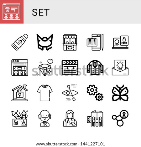 Set of set icons such as Website, Ointment, Bungee jumping, Ticket office, Ebook, Laptop, Slider, Diamond, Clapper, Jacket, Idea, Lock, Tshirt, Kayak, Gear, Butterfly, Fireworks , set