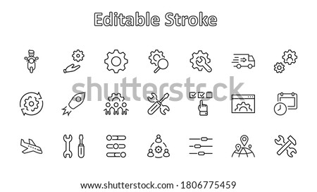 Set of Settings and Setup Vector Line Icons. Contains such Icons as Gear, Setting, Control, Iinstall, Options, Service, and more. Editable Stroke. 32x32 Pixels. Stock photo ©