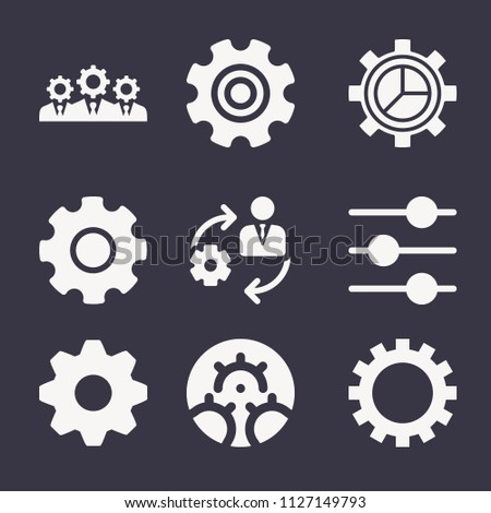 Set of 9 settings filled icons such as management, businessman, gear wheel with cogs, gear option, setting, cogwheel setting, control, settings