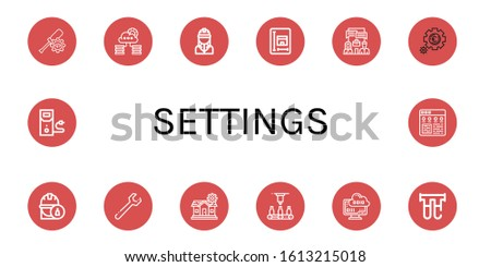 Set of settings icons. Such as Settings, Cloud storage, Engineer, Blueprint, System, Setting, Wrench, Automatic, Cloud computing, Filter, Case data , settings icons