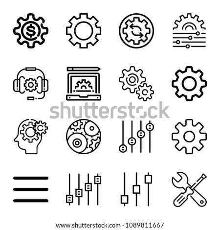 Set of 16 settings outline icons such as settings, controls, gears, setting, menu options, headset