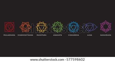 Set of seven chakra symbols with names, vector