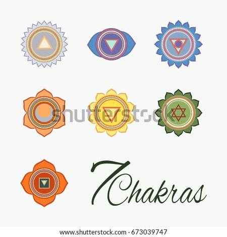 Set of seven chakras icons.Yoga,meditation and energy centers vector symbols. 7 Chakras. Third eye. Stock photo ©