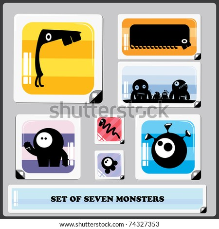 set of seven colorful monsters