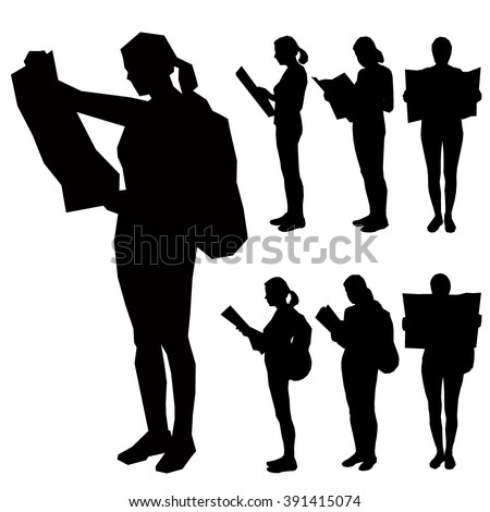 set of seven silhouettes   the
