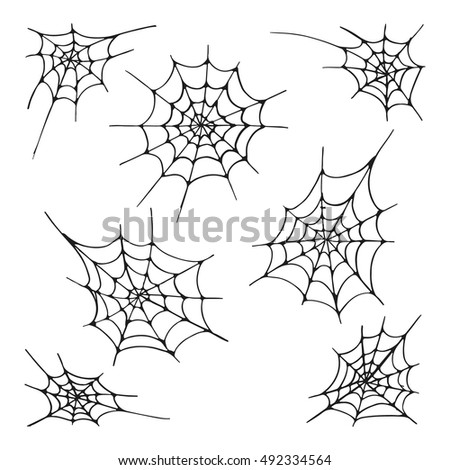 Set of seven spider web silhouette, isolated on the white background. Hand drawn elements for Halloween decoration