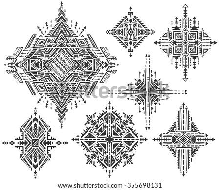 Set Of Seven Tribal Art Boho Hand Drawn Geometric Patterns Ethnic Print In Black And