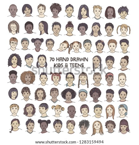 Set of seventy hand drawn children's faces, colorful and diverse portraits of kids and teens of different ethnicities