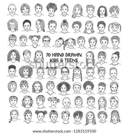 Set of seventy hand drawn children's faces, diverse portraits of kids and teens of different ethnicities, black and white ink illustration