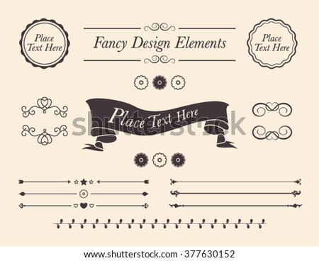 Set Of Shabby Chic Vector Design Elements Collection Fancy Frames Borders Banners