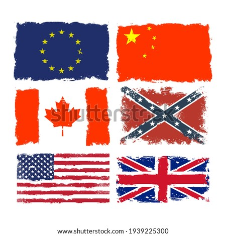 set of shabby flags of canada