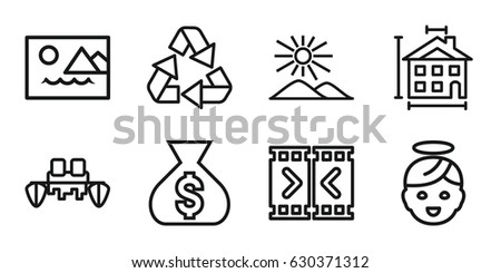 set of 8 shape outline icons