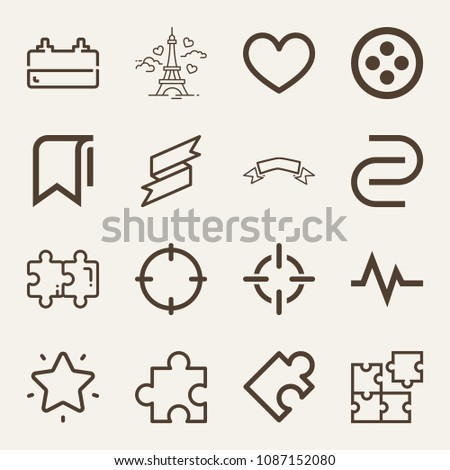 set of 16 shapes outline icons