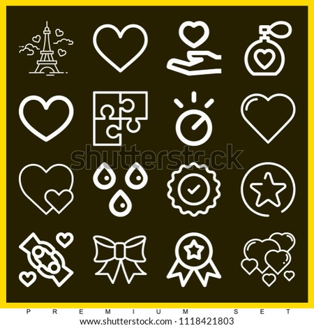 Set of 16 shapes outline icons such as sticker, knob, sweat, favorites button, puzzle, perfume, giving, love, heart, hearts, ribbon, eiffel tower