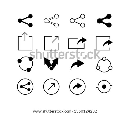 Set of share icons for websites or application internet technology signs of social mediaisolated on white background. EPS 10