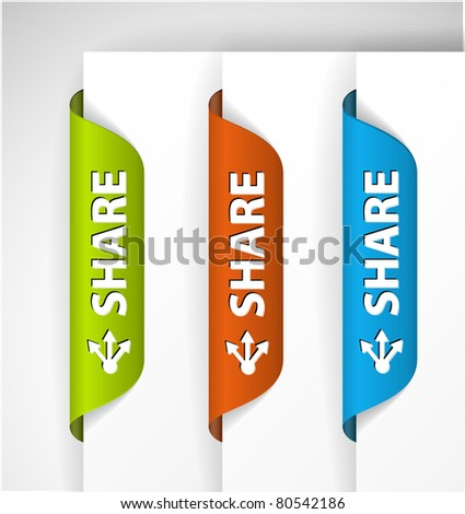 Set of share Labels / Stickers on the edge of the (web) page