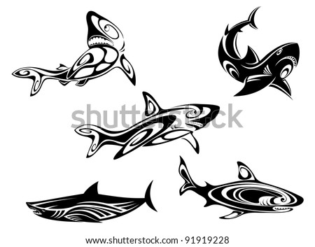 Set of shark tattoos in tribal style isolated on white background, such a logo. Jpeg version also available in gallery