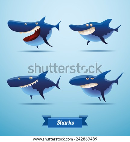 set of sharks  vector