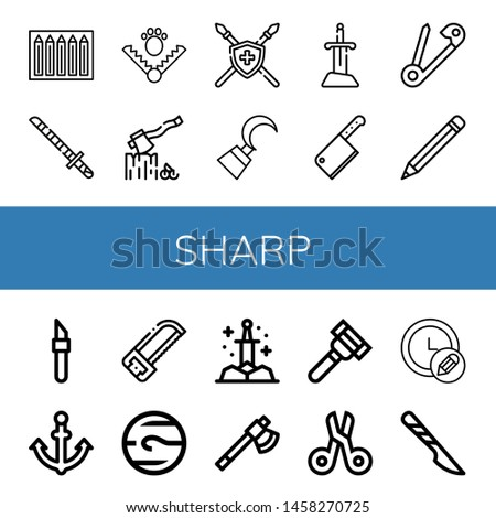 Set of sharp icons such as Color pencils, Katana, Trap, Axe, Spear, Hook, Sword, Cleaver, Safety pin, Pencil, Scalpel, Anchor, Saw, Neptune, Razor, Scissors , sharp