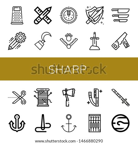 Set of sharp icons such as Grater, Pencil, Hook, Trap, Sword, Knife, Hand saw, Scissors, Anchor, Thread, Needle, Axe, Razor, Katana, Neptune , sharp