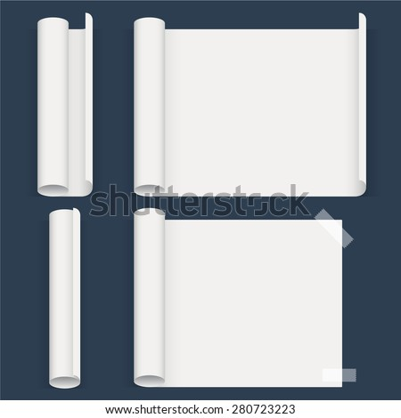 Set of sheets of a different form. Whatman paper. Vector