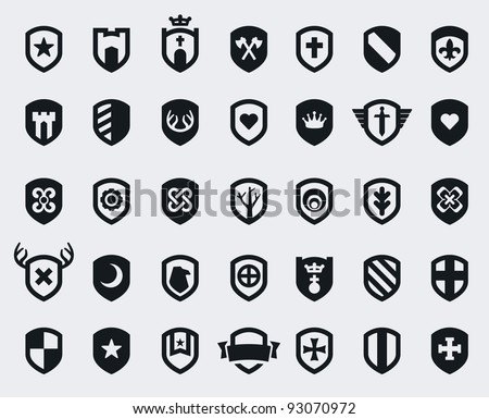 set of 35 shield icons with