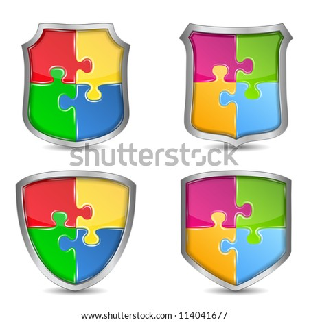 Set of shield with puzzle pieces, vector eps10 illustration