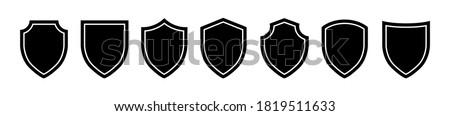 Set of Shiled icon on a white background. Isolated shiled symbol with flat style. Vector illustration. Photo stock ©