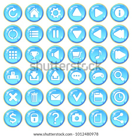 Set of shiny blue stone buttons with cracks for game interfaces. Vector GUI elements for mobile games. Isolated on white background