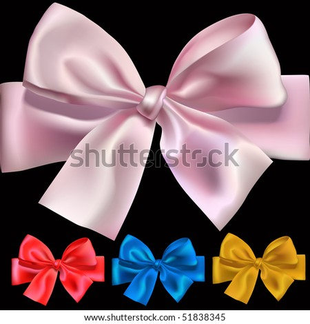 Set of shiny bows for design, vector illustration, mesh used
