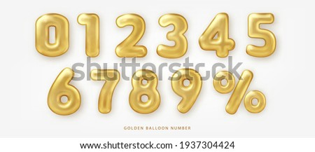 Set of shiny golden balloon number and percentage notation Photo stock ©