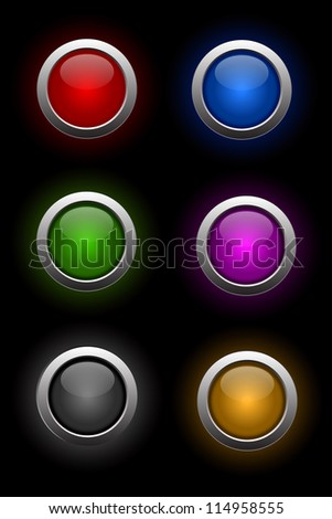 set of shiny neon glass buttons