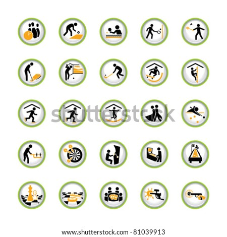Set of shiny pictogram buttons for indoor sport and leisure activities