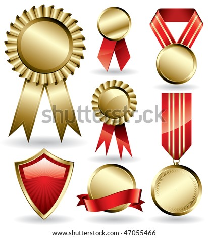 Set of shiny red and gold award ribbons and medals