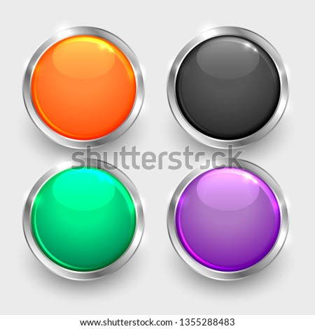 set of shiny round glossy buttons